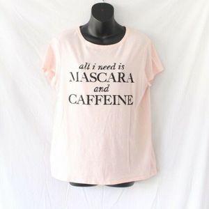 Mascara & Caffeine Top Women Large Light Pink